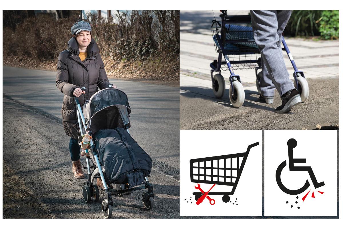 Splitt-Rollstuhl-Kinderwagen-Einkaufswagen